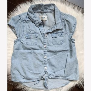 Old Navy chambray tie front top